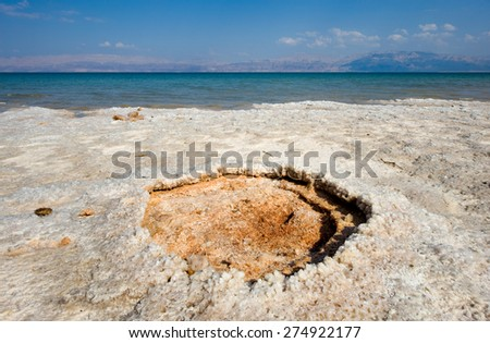 Salt on a beach of the dead sea in Israel - stock photo