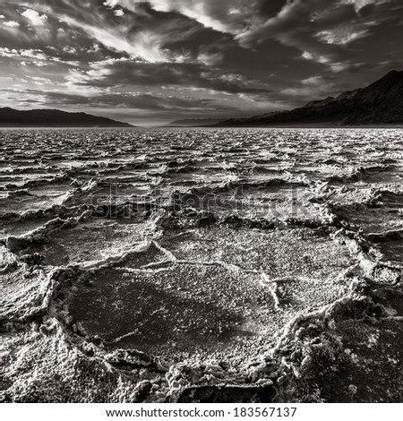 Salt pans at Badwater basin in Death Valley National Park, California. - stock photo