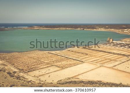 Salt works of Janubio, Lanzarote, Canary Islands - stock photo
