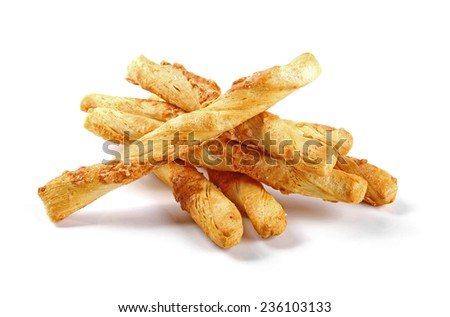 salted cheese stick snacks isolated on white - stock photo