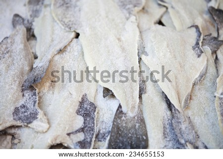 Salted Cod fish on the market - stock photo