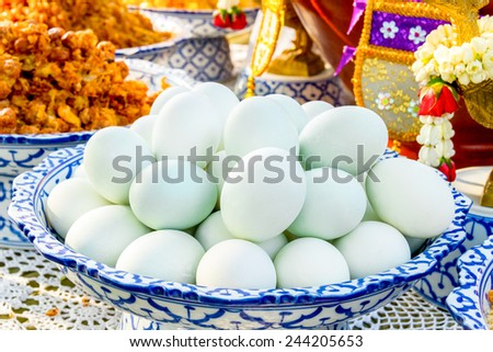 Salted Duck Egg, Salty duck egg on tray - thai food - stock photo