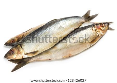 Salted herring fish isolated on white background - stock photo