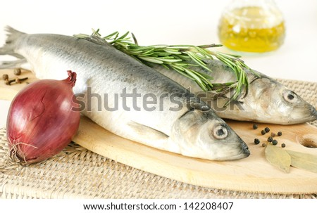 Salted herring on a wooden board with red onions and rosemary - stock photo