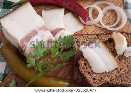 Salted lard with bread and onion - stock photo