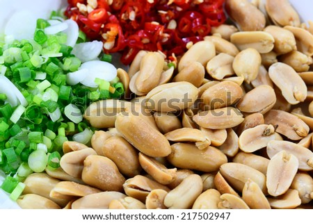 Salted Peanut with vegetable and chili - stock photo