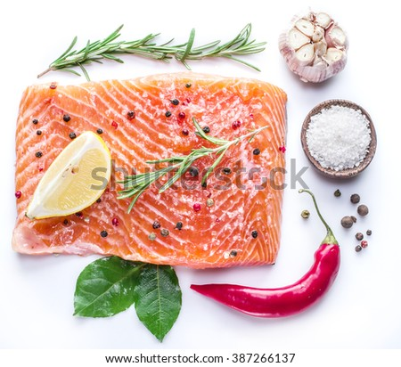 Salted salmon fillet on the white background. - stock photo