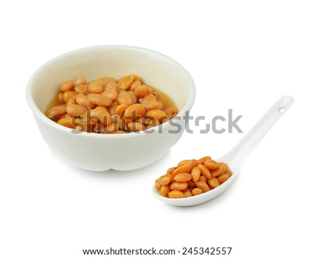 salted soybeans isolate on white background - stock photo
