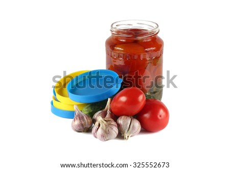 Salting - cucumbers, tomatoes, garlic and cover for canning. On white background. - stock photo