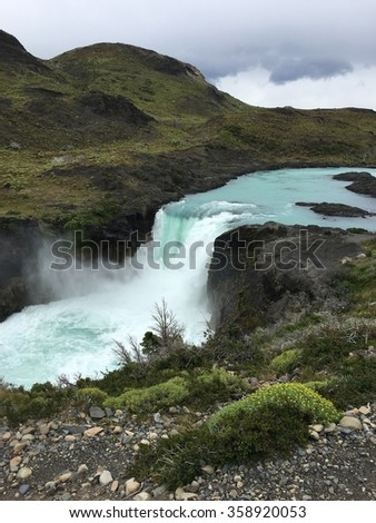 Salto Grande Waterfall in Torres del Paine National Park, Chile - stock photo