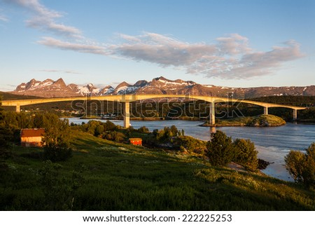 Saltstraumen Bridge on Norwegian County Road near Bodo - stock photo