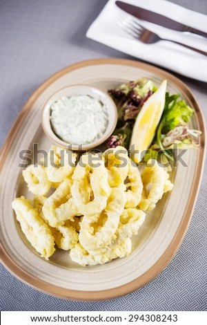 Salty and crispy fried squid rings served on a paper with wasabi mayonnaise - stock photo