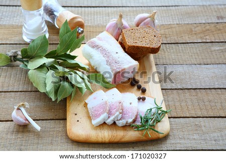 salty bacon with black bread and garlic, food closeup - stock photo