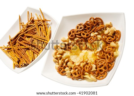 salty snacks - stock photo