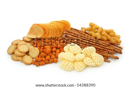 Salty snacks isolated on white background - stock photo