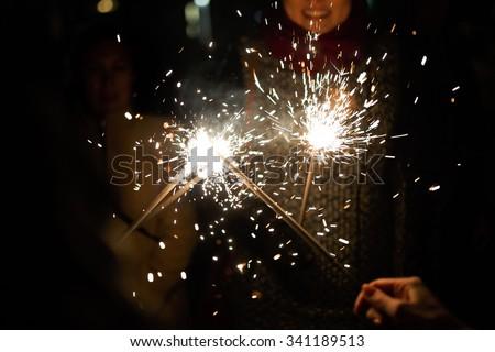 salute. fireworks. sparklers - stock photo