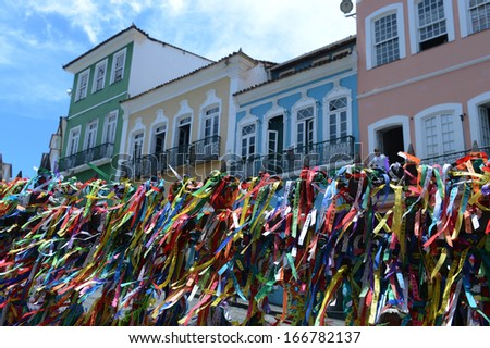 "SALVADOR, BAHIA, BRAZIL:09 DEC 2013: Bahia's traditional ""good luck"" amulet is exhibit at the Sao Francisco church at Pelourinho square in Salvador on 09th Decenber 2013,in Brazil. - stock photo"