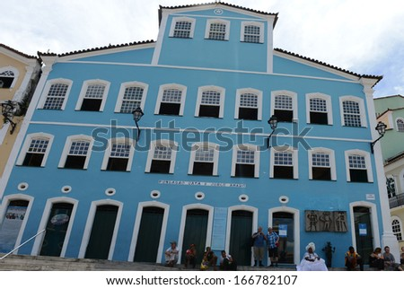 SALVADOR, BAHIA, BRAZIL:09 DEC 2013: General view of the casa de Jorge Amado foundation, a traditional place in the Pelourinho square on Salvador on 09th Decenber 2013,in Brazil. - stock photo