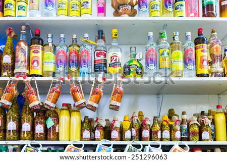 SALVADOR, BRAZIL - CIRCA NOVEMBER 2014: Exotic products at the traditional Mercado Modelo in Salvador, Bahia. This market is visited by locals and tourists looking for goods and gifts. - stock photo