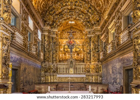 SALVADOR, BRAZIL - MAY 7: The Baroque architecture of Convento de Sao Francisco at Pelourinho in Salvador, Bahia, Brazil with its altars, images, and carved walls covered in pure gold on May 7, 2015. - stock photo