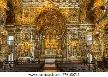 SALVADOR , BRAZIL - MAY 12: the Baroque architecture of Saint Francis Convent in Salvador, Bahia, Brazil with its altars and saint images covered in pure gold photographed on May 12, 2015 in Salvador. - stock photo