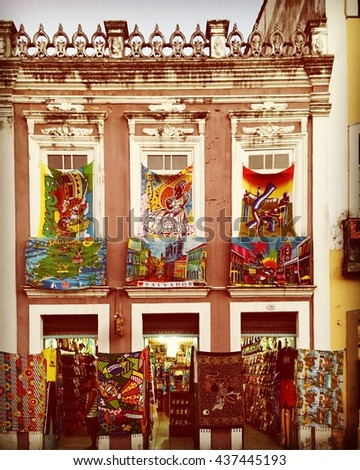 SALVADOR - JUNE 11: Close-up on the streets of The Historic Center of Salvador, also known as the Pelourinho or PeloSalvador in Bahia, Brazil on June 11th, 2016 - stock photo