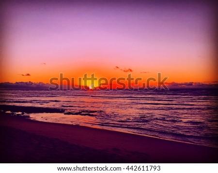 SALVADOR - JUNE 12: Silhouettes by the ocean shore in Salvador, Bahia, Brazil - stock photo
