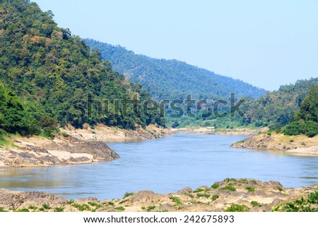 Salween River  at frontier Thailand and Myanmar view in winter. Winter is covered with fog in the morning. - stock photo