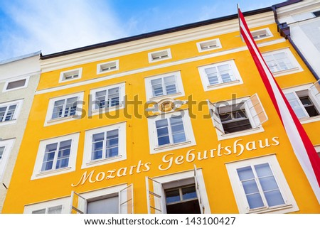 SALZBURG, AUSTRIA - AUGUST 28: Birthplace of Wolfgang Amadeus Mozart on August 28, 2012 in Salzburg, Austria. Mozart is known to be one of the most brilliant composers of the Classical Era. - stock photo