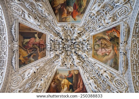 SALZBURG, AUSTRIA - DECEMBER 13: Fragment of the dome in the Chapel of the Holy Spirit, Salzburg Cathedral on December 13, 2014 in Salzburg, Austria. - stock photo