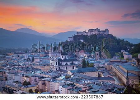 Salzburg, Austria. Image of the Salzburg during autumn sunrise.  - stock photo