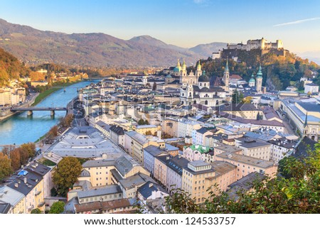Salzburg (Austria) inner city with churches - stock photo