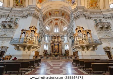 SALZBURG, AUSTRIA - JULY 31, 2014: The Salzburg Cathedral (Salzburger Dom) is a 17th century baroque cathedral dedicated to Saint Rupert in Salzburg, Austria - stock photo