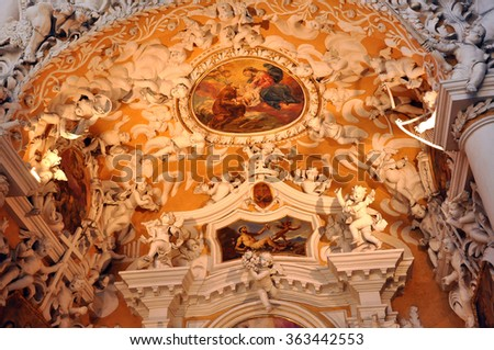 SALZBURG, AUSTRIA - MARCH 9, 2012: The Franciscan church is one of the oldest churches of Salzburg. The church was dedicated to the Virgin Mary - stock photo
