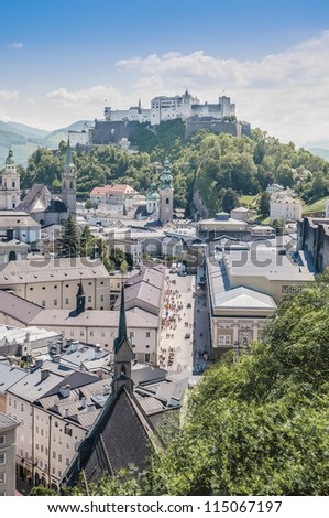 Salzburg general view as seen from M���¶nchsberg viewpoint, Austria - stock photo