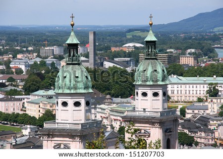 Salzburg skyline with cathedral towers. Beautiful old town. - stock photo