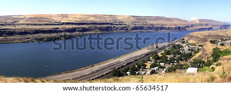 Sam Hill memorial bridge & Biggs OR.junction from Washington state. - stock photo