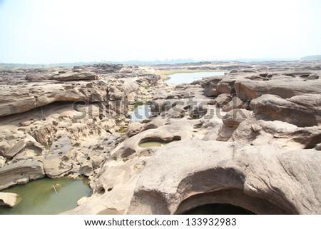 Sam-Pan-Bok Grand Canyon, Amazing of rock in Mekong river ,Ubonratchathani, Thailand. - stock photo