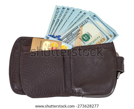 SAMARA, RUSSIA - APRIL 17, 2015: Wallet open with a dollar bill sticking out and credit card, isolated on white - stock photo