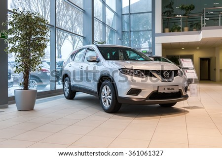 SAMARA, RUSSIA - JANUARY 10, 2016: Inside in the office of official dealer Nissan. New Nissan X-Trail - stock photo