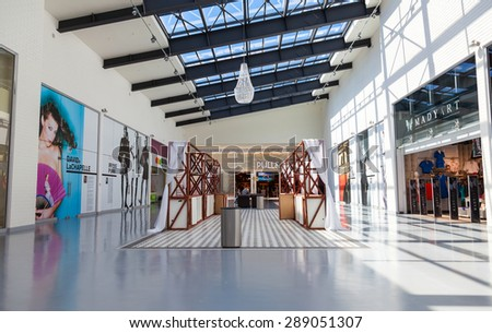 SAMARA, RUSSIA - JUNE 13, 2015: Inside of the Samara hypermarket Ambar. The one of largest shopping center in Samara, opened in August 2014 - stock photo