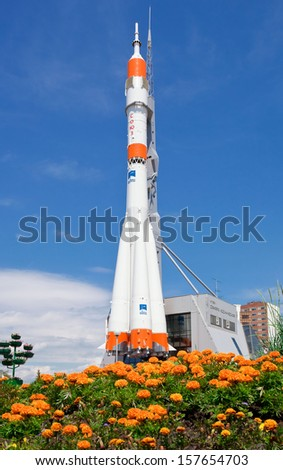 "SAMARA, RUSSIA - JUNE 14: Real ""Soyuz"" type rocket as monument on June 14, 2011 in Samara. Rocket height together with building - 68 meters, weight - 20 tons. The monument was unveiled on 2001 - stock photo"