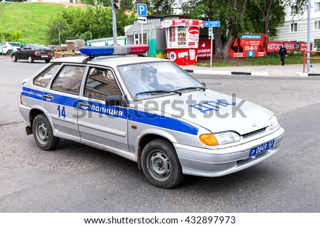 SAMARA, RUSSIA - JUNE 4, 2016: Russian police patrol car of the State Automobile Inspectorate parked on the city street in summer day - stock photo