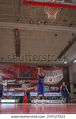 SAMARA, RUSSIA - MAY 20: Aaron Jackson of BC CSKA throws from the free throw line in a game against BC Krasnye Krylia on May 20, 2013 in Samara, Russia. - stock photo