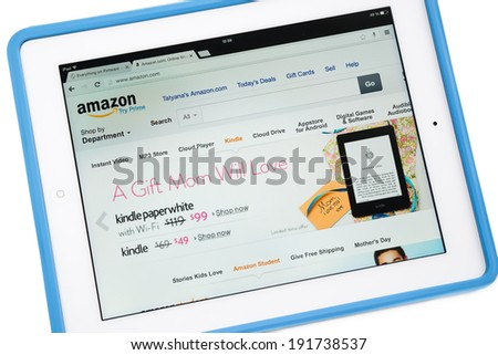 Samara, Russia - May 04, 2014: Amazon.com, Inc. is the world's largest online retailer. Amazon.com announces a new application for mobile devices - stock photo