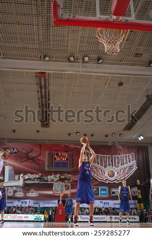 SAMARA, RUSSIA - MAY 20: Andrey Vorontsevich of BC CSKA throws from the free throw line in a game against BC Krasnye Krylia on May 20, 2013 in Samara, Russia. - stock photo