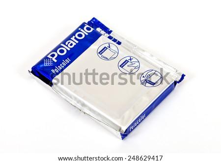 SAMARA, RUSSIA - MAY 20, 2014: Cassette for instant camera Polaroid over white background - stock photo
