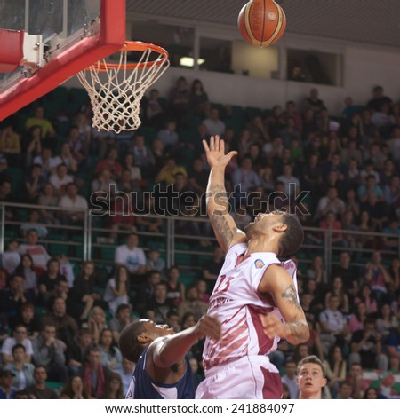 SAMARA, RUSSIA - MAY 03: Chester Simmons of BC Krasnye Krylia throws a ball in a basket during a game against BC Triumph on May 03, 2013 in Samara, Russia. - stock photo