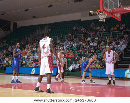 SAMARA, RUSSIA - MAY 11: Jerry Jefferson of BC Enisey gets ready to throw from the free throw line in a game against BC Krasnye Krylia on May 11, 2013 in Samara, Russia. - stock photo