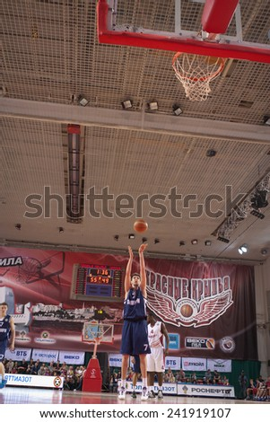 SAMARA, RUSSIA - MAY 03: Sergey Karasev of BC Triumph throws from the free throw line in a game against BC Krasnye Krylia on May 03, 2013 in Samara, Russia. - stock photo